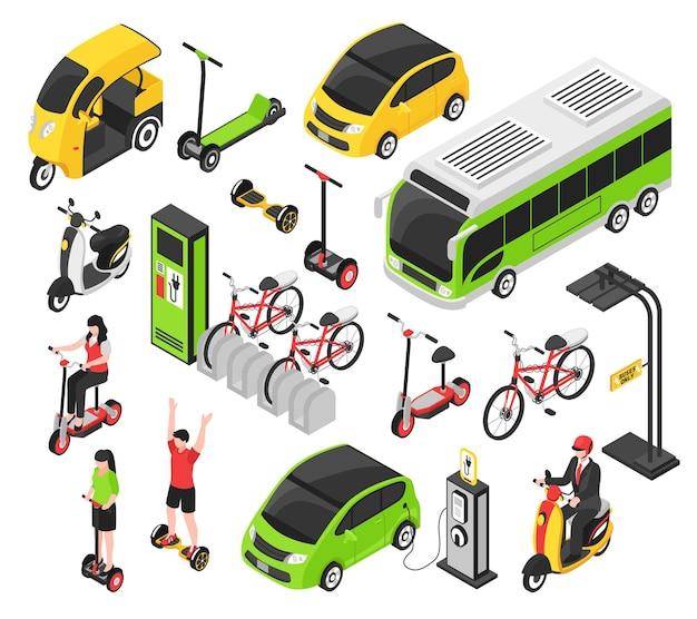 Eco transport izometryczny zestaw z skuter elektryczny samochód rower segway żyroskop na białym tle dekoracyjne ikony