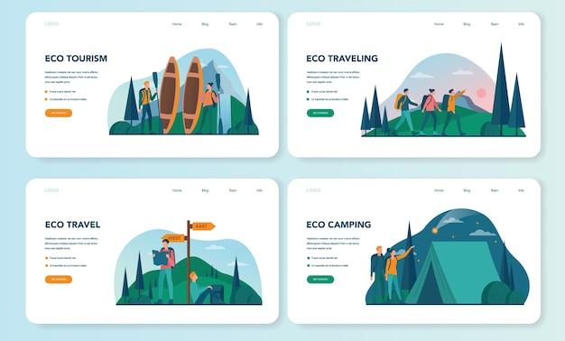 Eco turystyka i eko podróżujący baner internetowy lub zestaw strony docelowej. ekologiczna turystyka w dzikiej przyrodzie, wędrówki i spływy kajakowe. turysta z plecakiem i namiotem. .