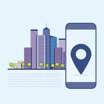 Eco zielone nowoczesne miasto cienka linia ilustracji wektorowych. ekran telefonu ze wskaźnikiem gps.