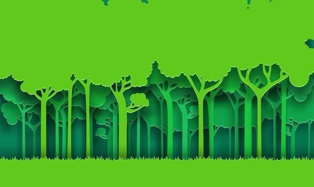 Eco zielony natura las tło sztuka papieru