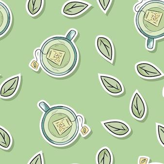 Eco życzliwego zdroju bezszwowy wzór z zieloną herbatą i liśćmi. idź na zielone życie