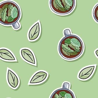 Eco życzliwego zdroju bezszwowy wzór z ziołową herbatą i liśćmi. zzielenieć