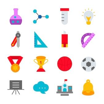 Edukacj ikony ustawiają szkolną projekta loga ilustrację