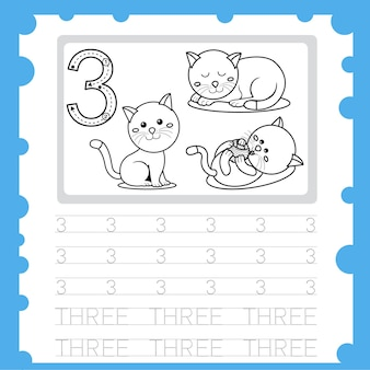 Edukacja arkusz roboczy pisanie numer praktyki i kolorystyka dla dziecka trzy