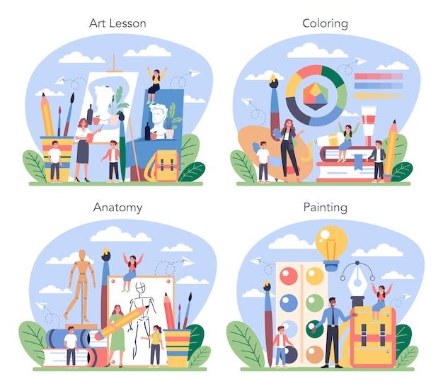 Edukacja artystyczna zestaw ilustracji