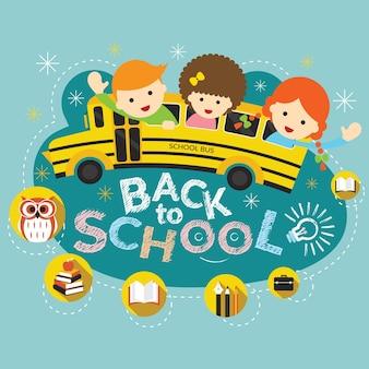 Edukacja, autobus szkolny z uczniem