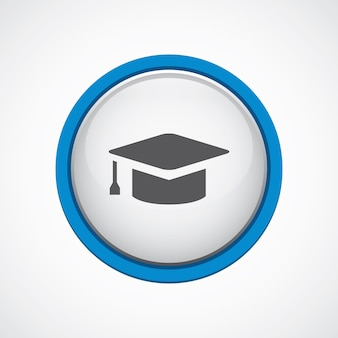 Edukacja błyszcząca z niebieską ikoną obrysu, koło, na białym tle