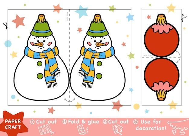 Edukacja christmas paper crafts dla dzieci, bałwan i bombka. użyj nożyczek i kleju, aby stworzyć obraz.