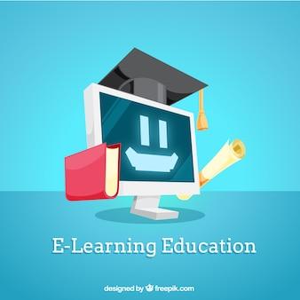 Edukacja cyfrowe tła z uśmiechniętą komputera
