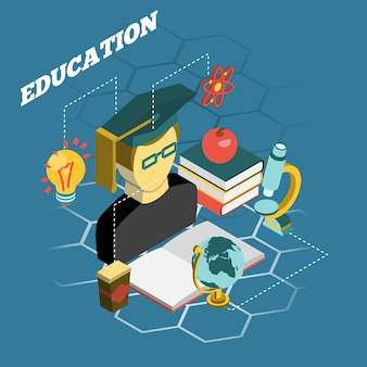 Edukacja czytania koncepcja izometryczny baner