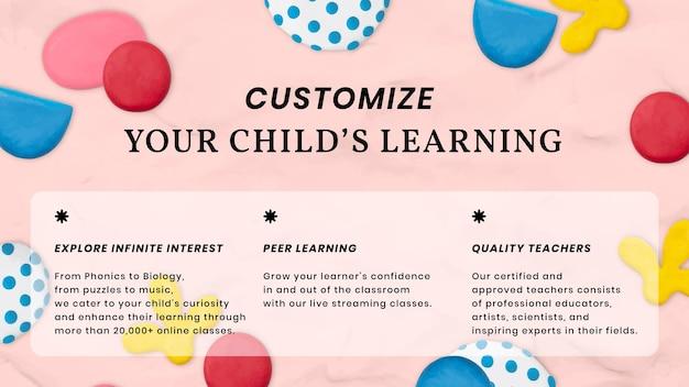 Edukacja dla dzieci ładny szablon wektor z banerem reklamowym z kreatywnym wzorem artystycznym