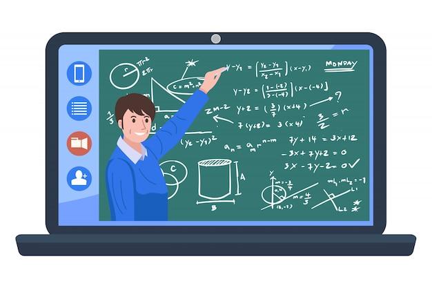 Edukacja domowa, ilustracyjna wideokonferencja z nauczycielem w domu.