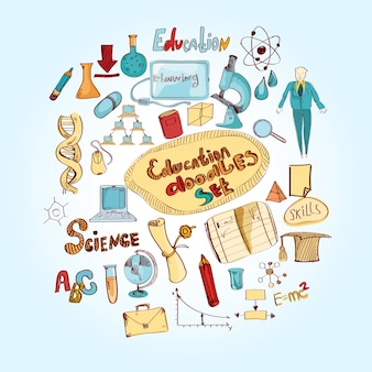 Edukacja doodle kolorowe