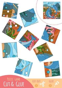Edukacja gra logiczna dla dzieci, dwa narwale. użyj nożyczek i kleju, aby stworzyć obraz.