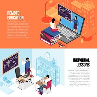 Edukacja horyzontalni isometric sztandary z indywidualnymi prywatnymi lekcjami i online szkoła wyższa uniwersytet kursami odizolowywali wektorową ilustrację