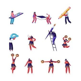 Edukacja i koncepcja cheerleaderek zestaw.
