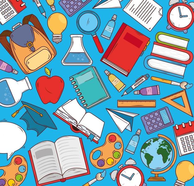 Edukacja i przybory szkolne, projektowanie ilustracji wektorowych