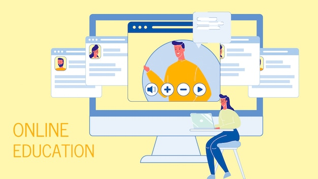 Edukacja internetowa płaski wektor web banner szablon