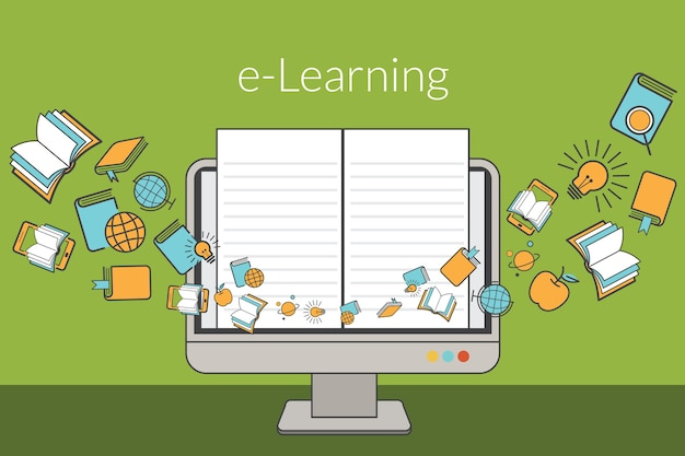 Edukacja, koncepcja e-learningu, monitor komputera z ikonami