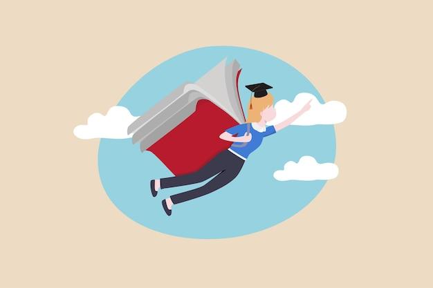 Edukacja lub nauka na temat rozwoju osobistego, wiedza umożliwiająca rozwój kariery i ulepszanie koncepcji umiejętności biznesowych, absolwent latania ze skrzydłami książki na niebie, ma na celu świetlaną przyszłość.