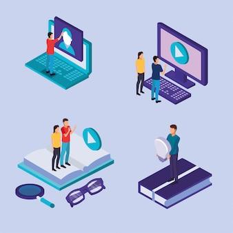 Edukacja na linii technologii z laptopu i desktop wektorowym ilustracyjnym projektem