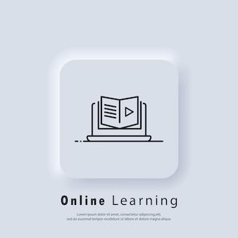 Edukacja na odległość, ikona e-książek. baner edukacji online lub egzamin na odległość. kurs e-learningowy w domu, nauka online. wektor. ikona interfejsu użytkownika. biały przycisk sieciowy interfejsu użytkownika neumorphic ui ux. neumorfizm