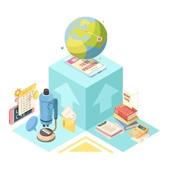 Edukacja na odległość izometryczny projekt z globusem, urządzeniem mobilnym na niebieskim sześcianie, książkami, mikroskopem i kalkulatorem