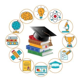 Edukacja na odległość online z testem ikon z kolorowymi liniami, dyplomem, uruchomieniem, książkami i czapką ukończenia studiów.