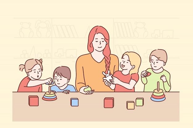 Edukacja, nauczanie, zabawa, gra, koncepcja nauki