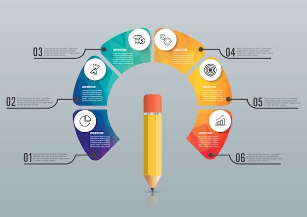 Edukacja ołówek opcja szablon projektu infografiki.
