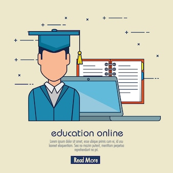 Edukacja on-line z laptopem