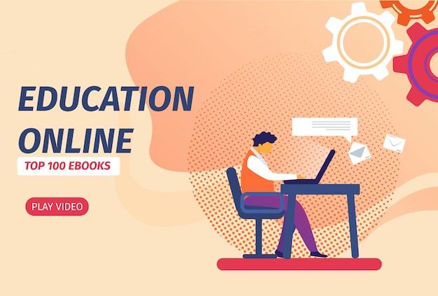 Edukacja online banner z przyciskiem. uczeń z laptopem uczący się na odległość przez internet.