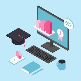 Edukacja online dla biznesu 3d izometryczny wektor koncepcja. szkolenia online.
