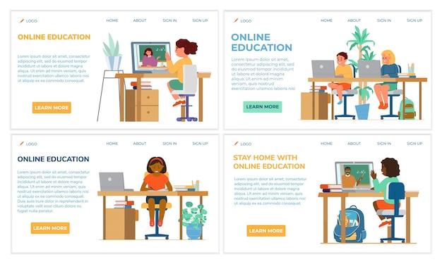 Edukacja online dla dzieci zestaw szablonów stron internetowych. siedzenie dzieci różnych ras przy biurku z laptopami z nauczycielami na ekranie. płaska konstrukcja.
