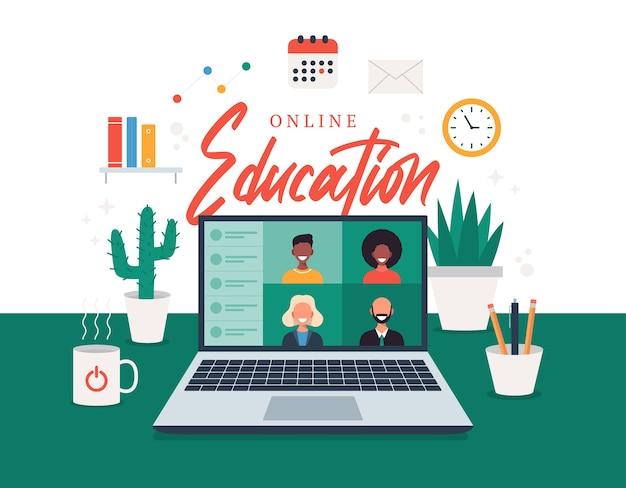 Edukacja online, e-learning, koncepcja kursu online, ilustracja szkoły domowej. studenci na ekranie laptopa