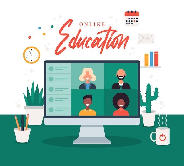 Edukacja online elearning koncepcja kursu online ilustracja domowa szkoła