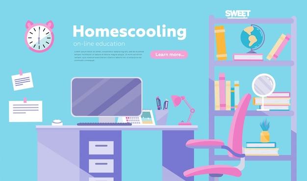 Edukacja online i biuro w domu koncepcyjne plakat, baner, lądowanie. miejsce pracy w domu.