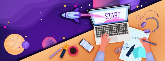 Edukacja online i ilustracja biura domowego z widokiem z góry miejsca pracy, rąk, laptopa, smartfona