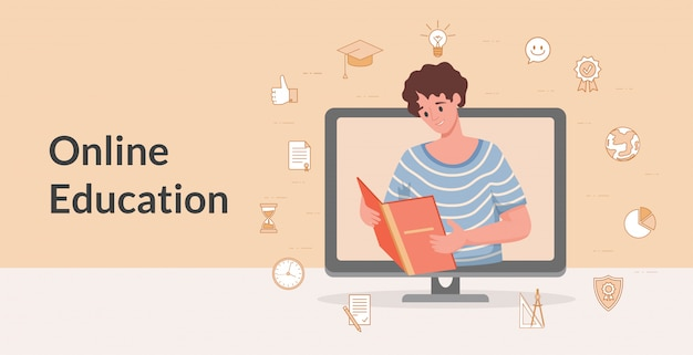 Edukacja online i nauka internetu projekt płaski transparent kreskówka. zdalne uczenie się, studia internetowe.
