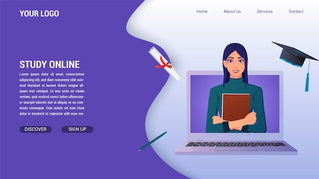 Edukacja online i nauka od koncepcji komputera na stronę docelową, z dyplomem i kapeluszem ukończenia szkoły i kobietą holding book.