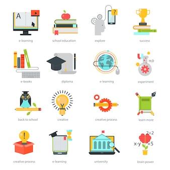 Edukacja online ikony wektor zestaw odległość szkoły