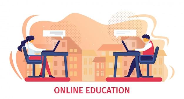 Edukacja online ilustracja pozioma. męscy i żeńskiego ucznia charaktery siedzi przy biurkami twarz w twarz pracuje z laptopem