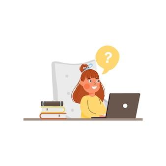 Edukacja online koncepcja edukacji domowej projekt młodej dziewczyny studiuje z laptopem