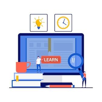 Edukacja online, kurs na odległość, e-learning i koncepcja biblioteki cyfrowej chmury z postaciami.