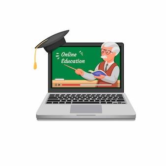 Edukacja online. kursowy online leje się na laptopie w kreskówki realistycznej ilustraci w białym tle