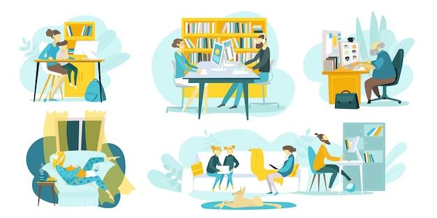 Edukacja online, kursy szkoleniowe, zestaw ilustracji technologii internetowych z samouczkami na odległość i nauczycielami, uczniowie uczący się online. szkoły internetowe dla dzieci i kształcenie na odległość.