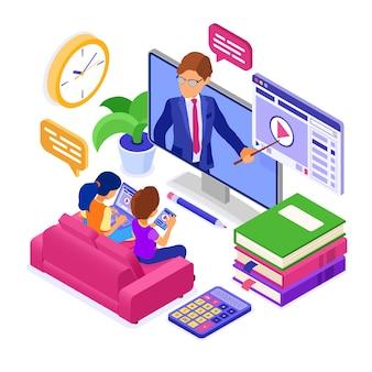 Edukacja online lub egzamin na odległość z internetem z postaciami izometrycznymi