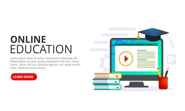 Edukacja online lub elearning, wektorowa ilustracja