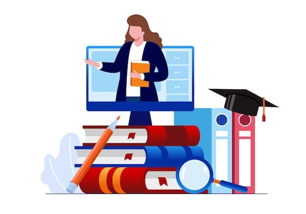 Edukacja online lub nauczanie online płaski baner ilustracji wektorowych i strona docelowa