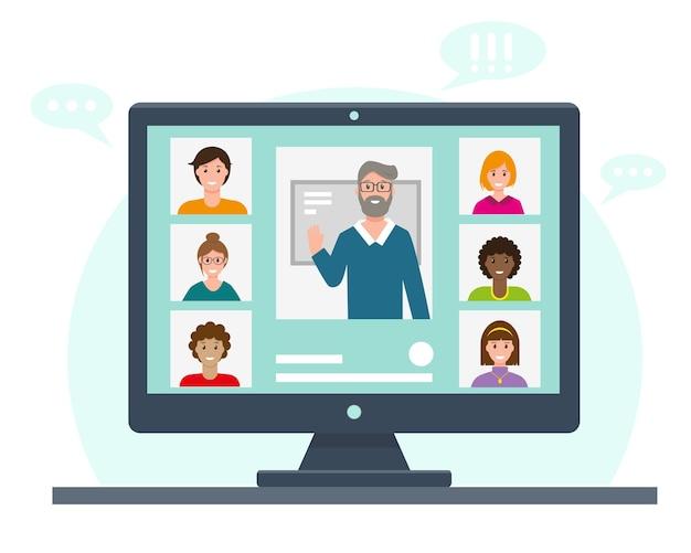 Edukacja online lub praca. wideokonferencja na ekranie komputera.